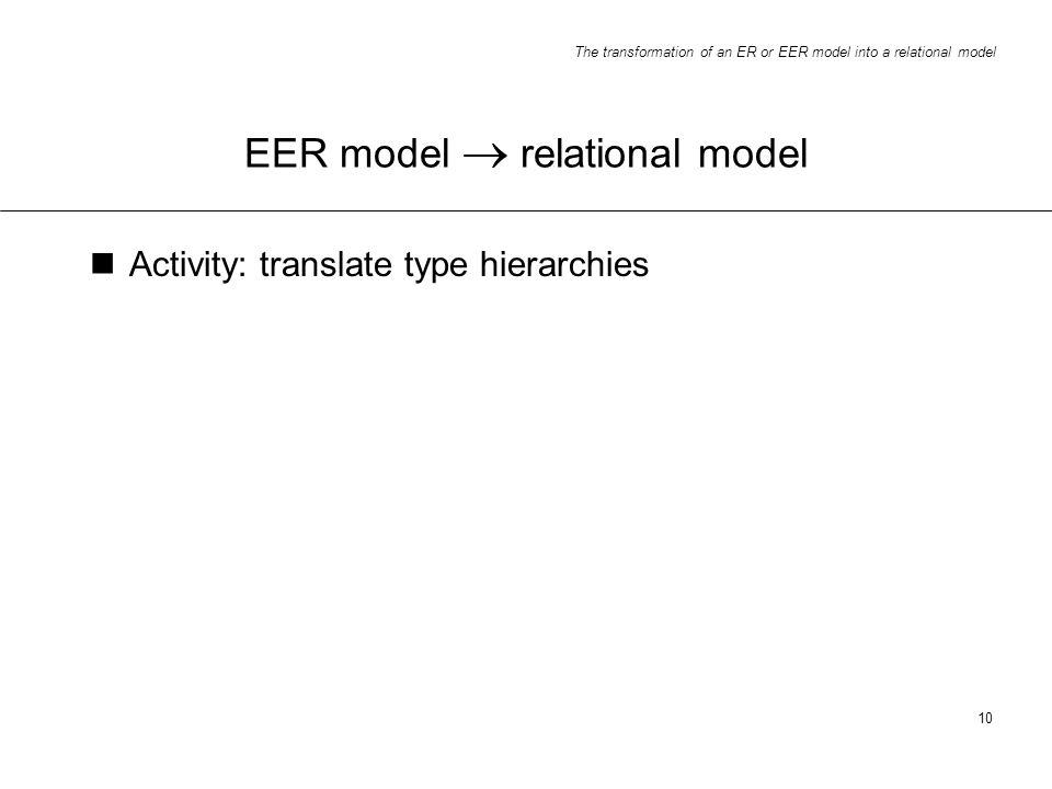 EER model  relational model