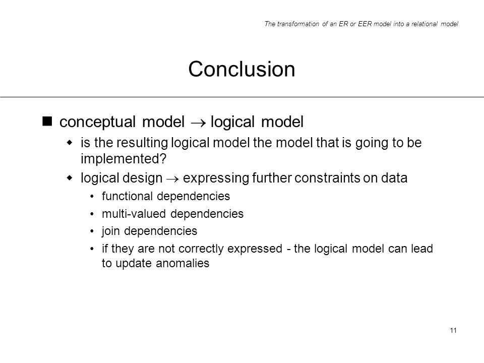 Conclusion conceptual model  logical model