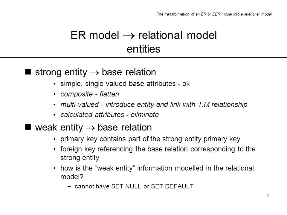 ER model  relational model entities
