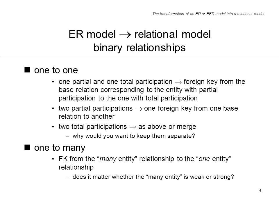 ER model  relational model binary relationships