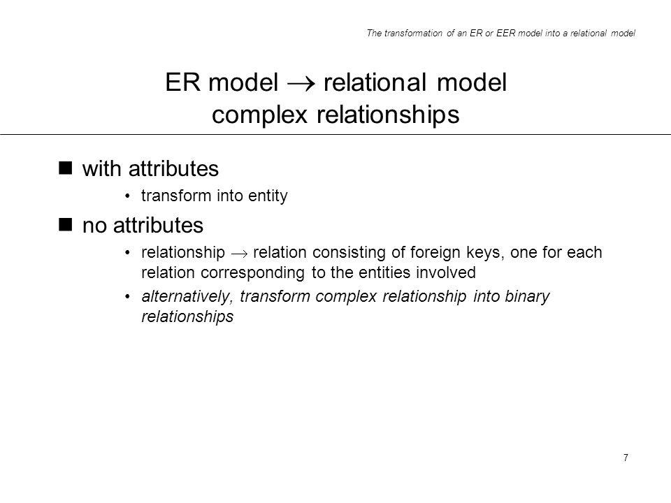 ER model  relational model complex relationships