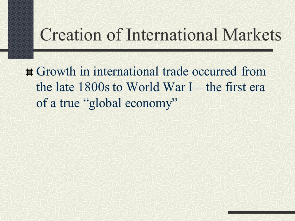 Creation of International Markets