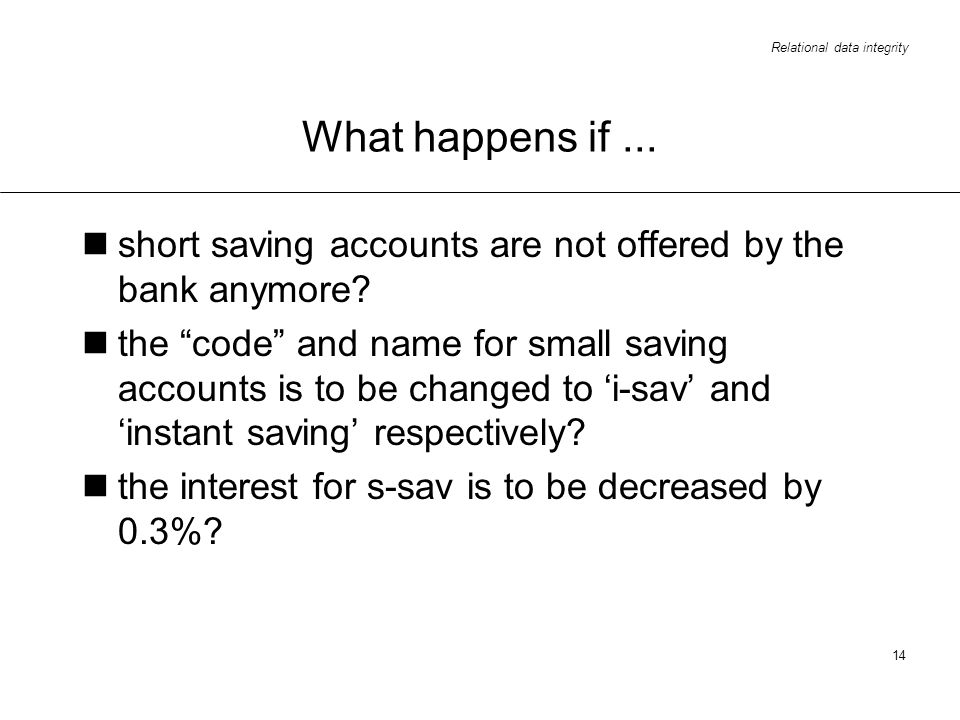What happens if ... short saving accounts are not offered by the bank anymore
