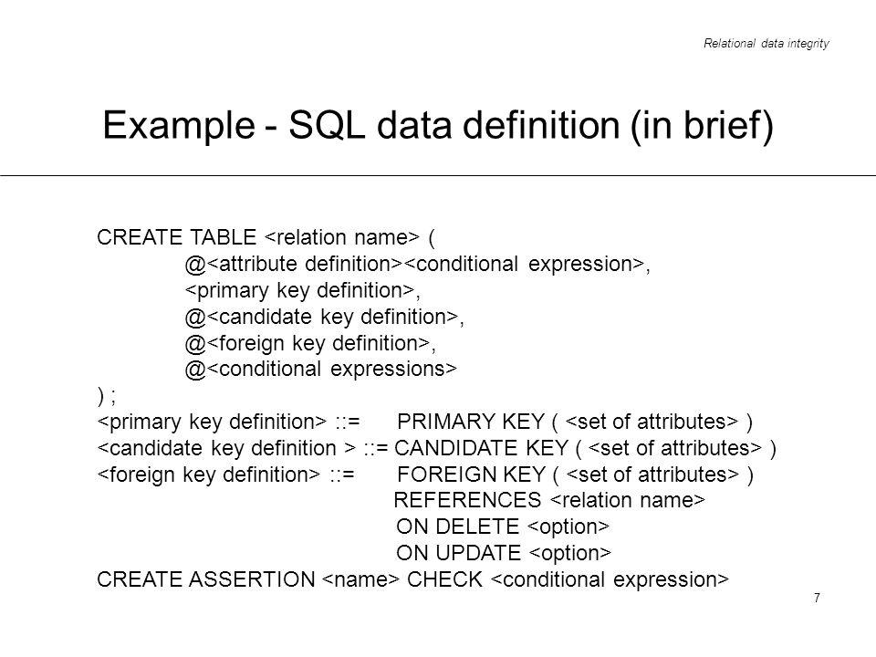 Example - SQL data definition (in brief)