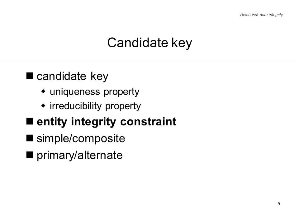 Candidate key candidate key entity integrity constraint