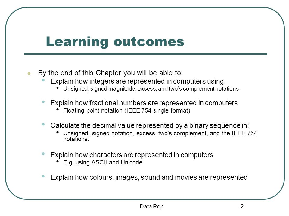 Learning outcomes By the end of this Chapter you will be able to: