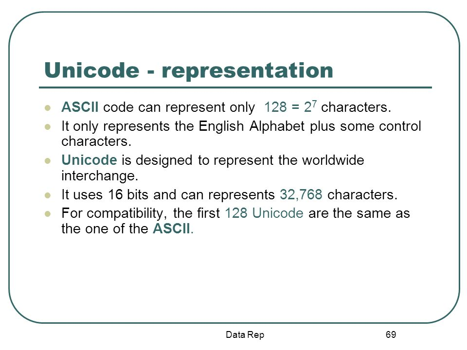 Unicode - representation