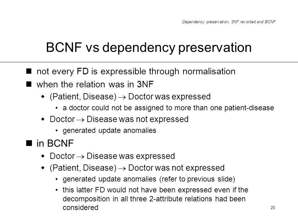 BCNF vs dependency preservation