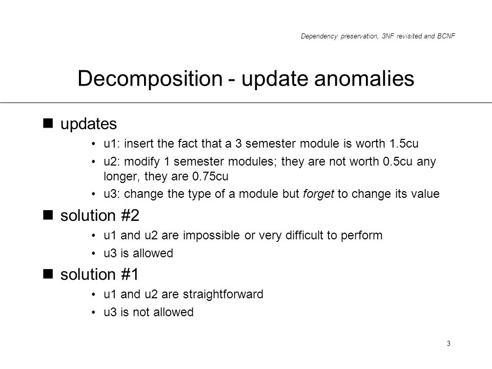 Decomposition - update anomalies