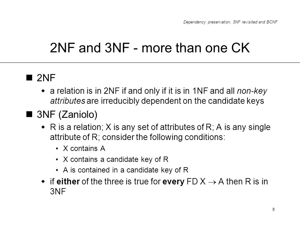 2NF and 3NF - more than one CK