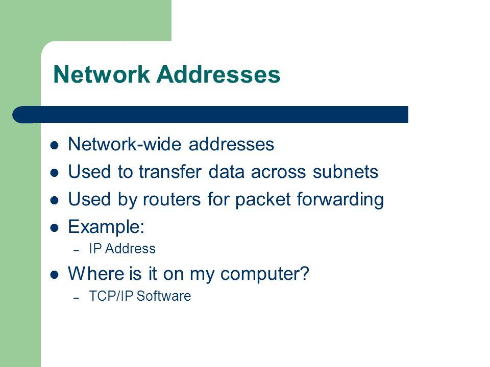 Network Addresses Network-wide addresses