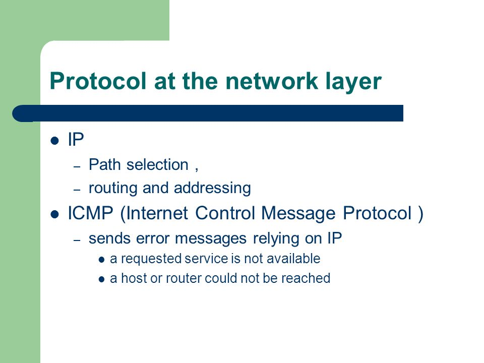 Protocol at the network layer