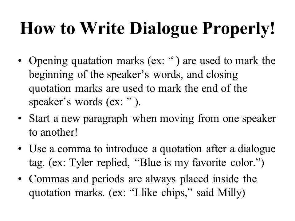 Quotation Marks And Dialogue Mechanics