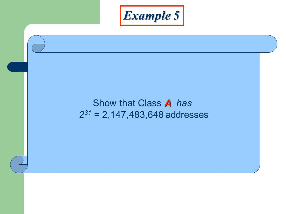 Example 5 Show that Class A has 231 = 2,147,483,648 addresses