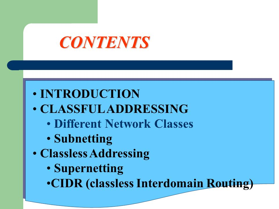 CONTENTS INTRODUCTION CLASSFUL ADDRESSING Different Network Classes