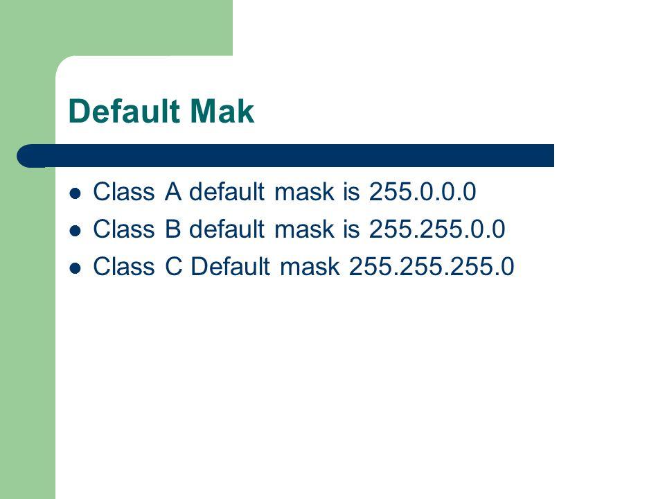 Default Mak Class A default mask is 255.0.0.0