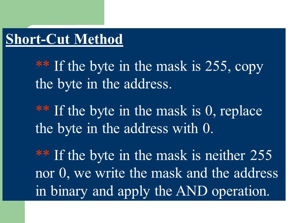 Short-Cut Method ** If the byte in the mask is 255, copy the byte in the address.