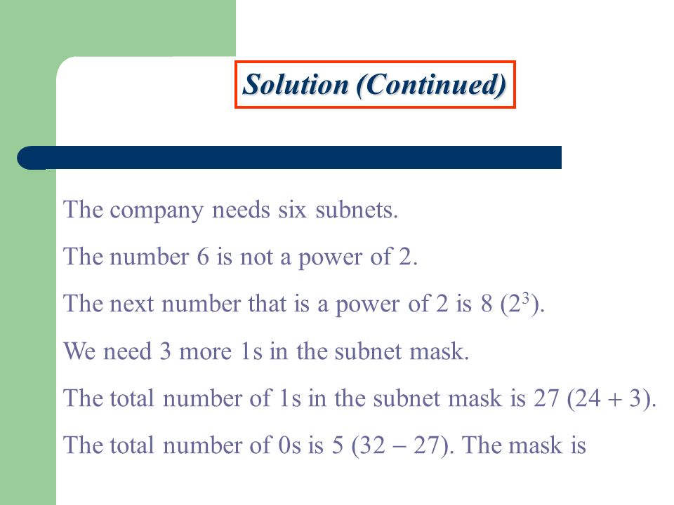 Solution (Continued) The company needs six subnets.
