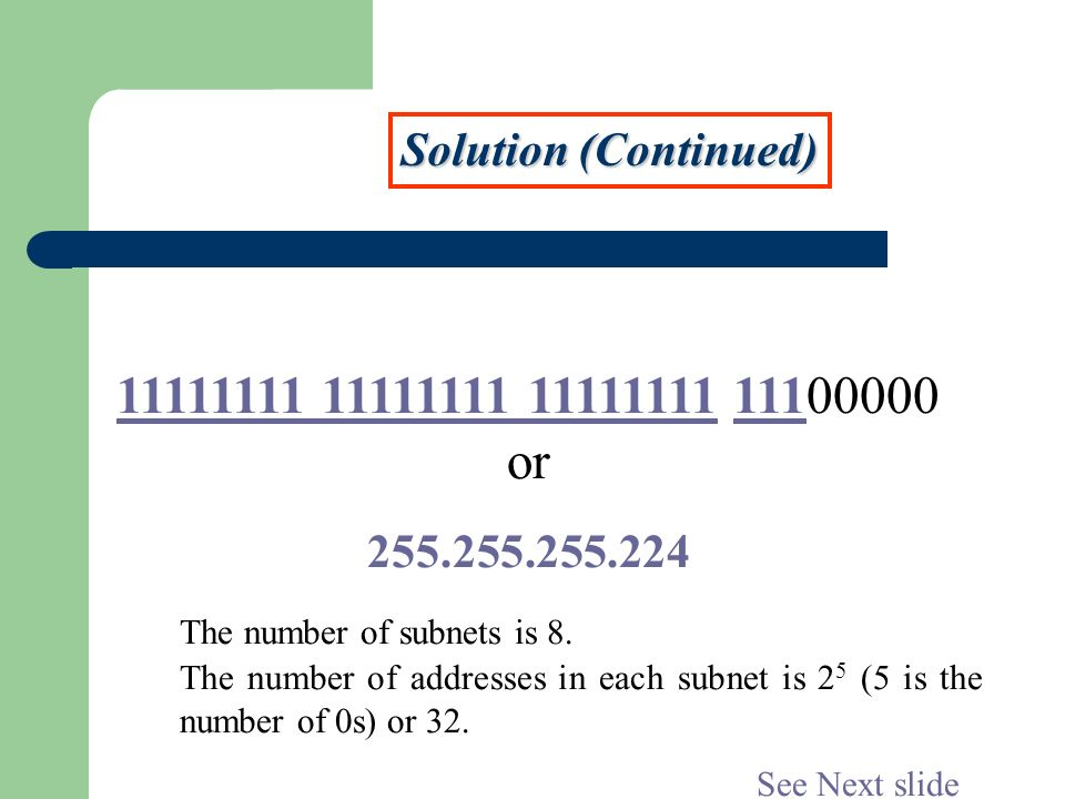 11111111 11111111 11111111 11100000 or Solution (Continued)