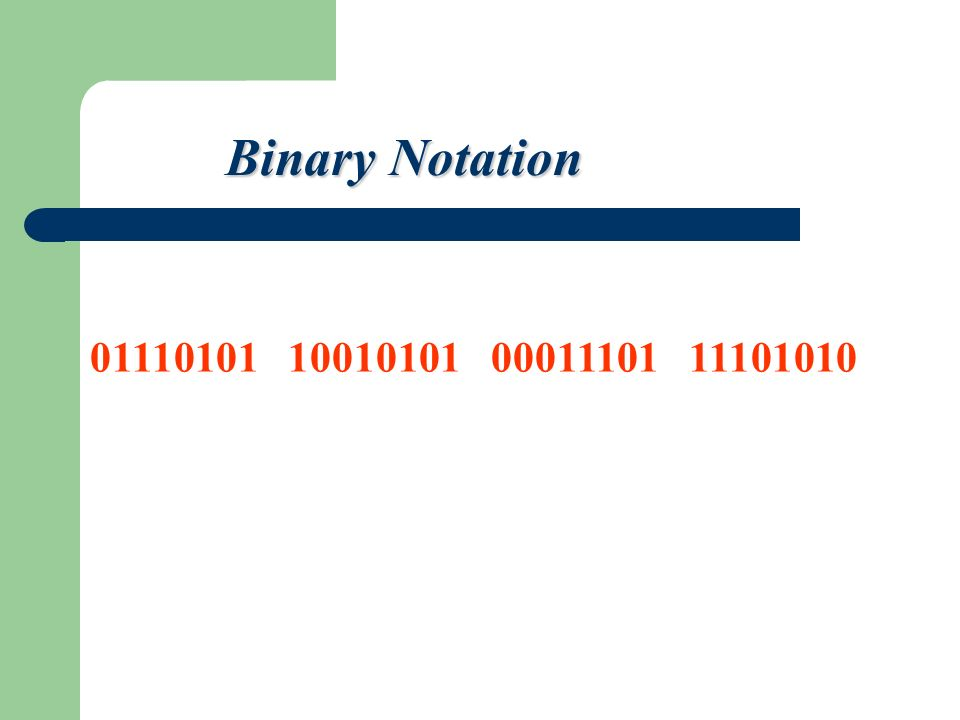 Binary Notation 01110101 10010101 00011101 11101010