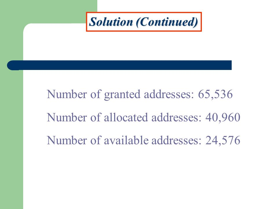 Solution (Continued) Number of granted addresses: 65,536.