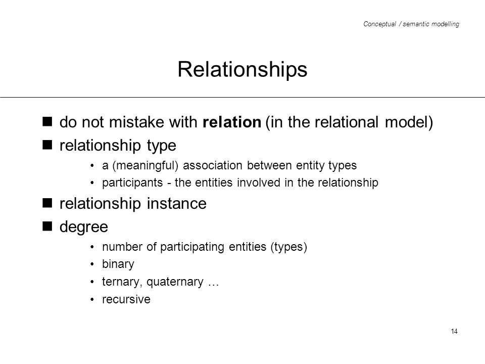 Relationships do not mistake with relation (in the relational model)