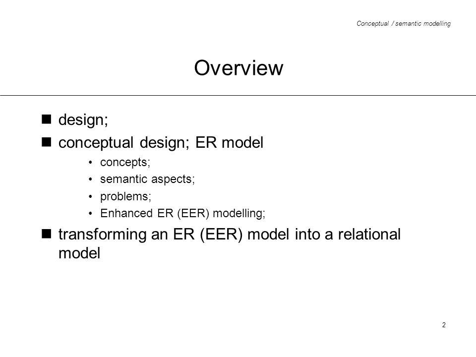 Overview design; conceptual design; ER model