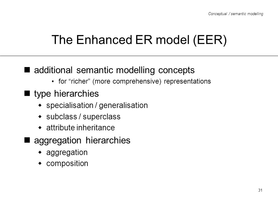 The Enhanced ER model (EER)