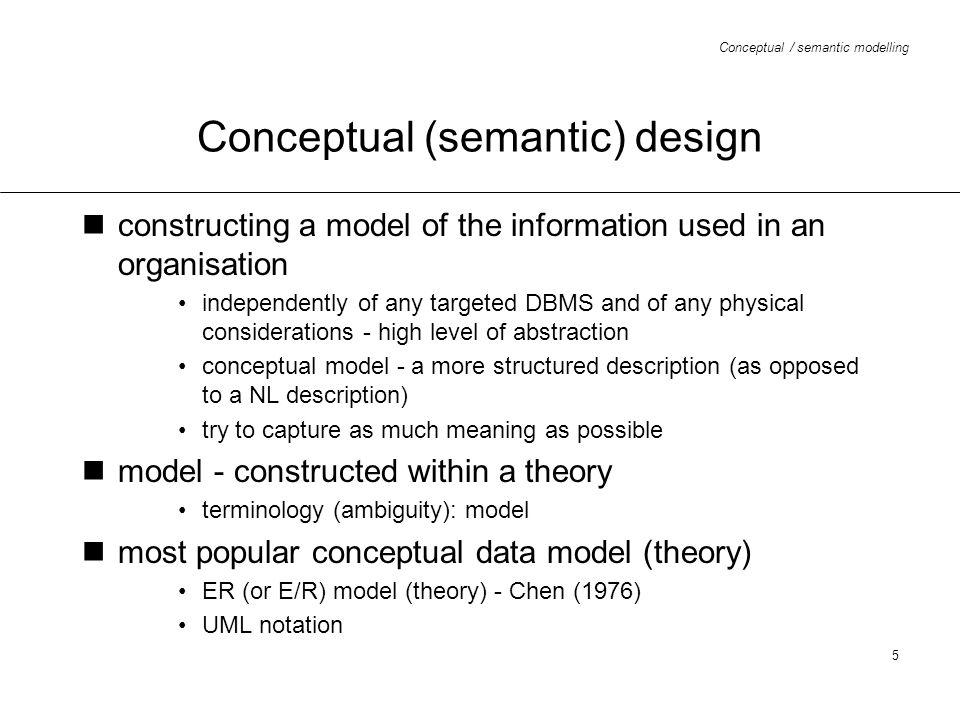 Conceptual (semantic) design