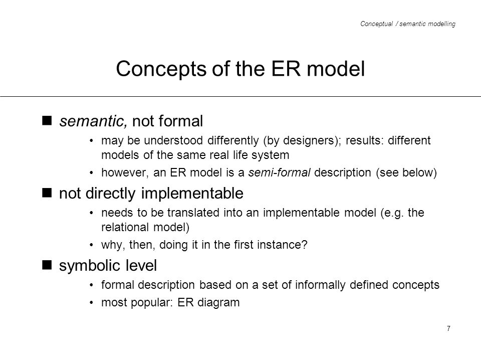 Concepts of the ER model