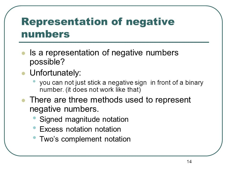 Representation of negative numbers