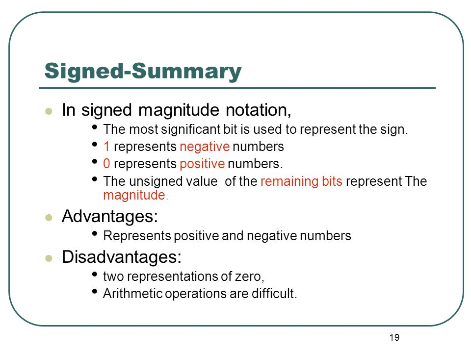 Signed-Summary In signed magnitude notation, Advantages: