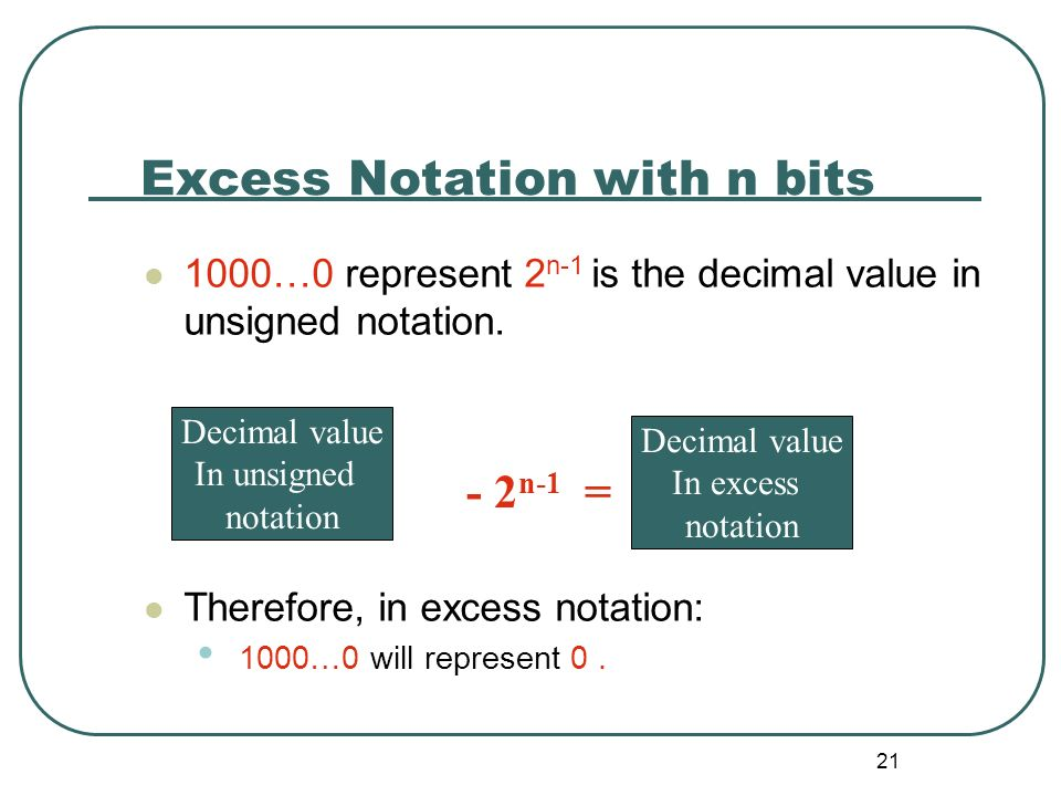 Excess Notation with n bits