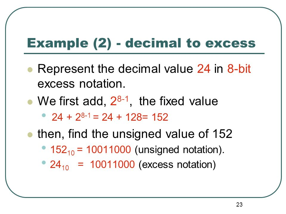 Example (2) - decimal to excess