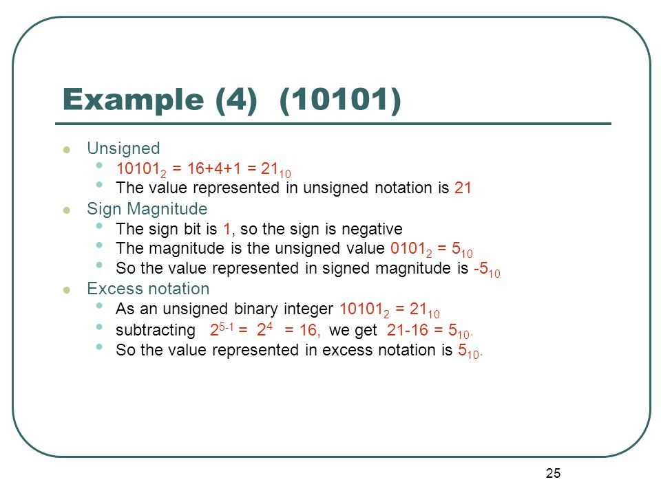 Example (4) (10101) Unsigned Sign Magnitude Excess notation