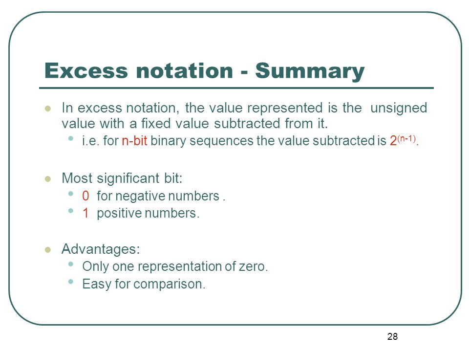 Excess notation - Summary