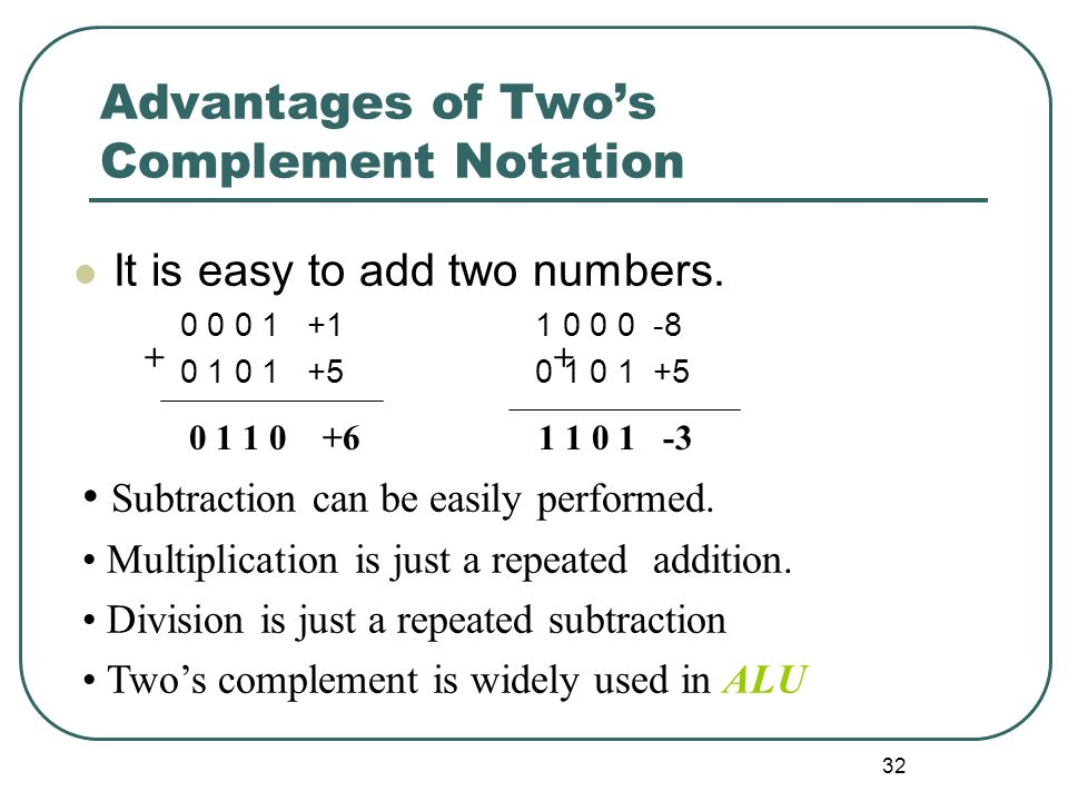 Advantages of Two's Complement Notation
