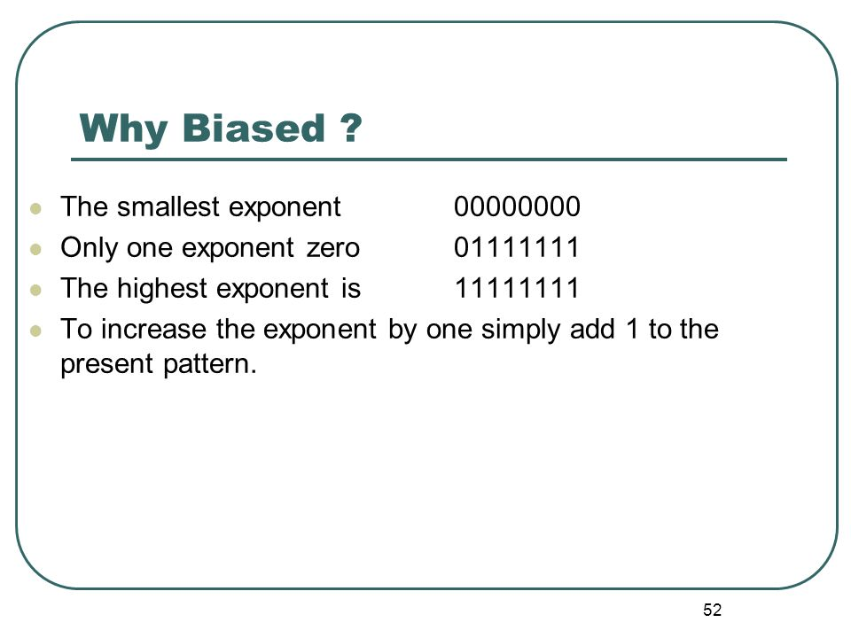 Why Biased The smallest exponent