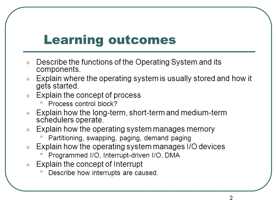 Learning outcomes Describe the functions of the Operating System and its components.