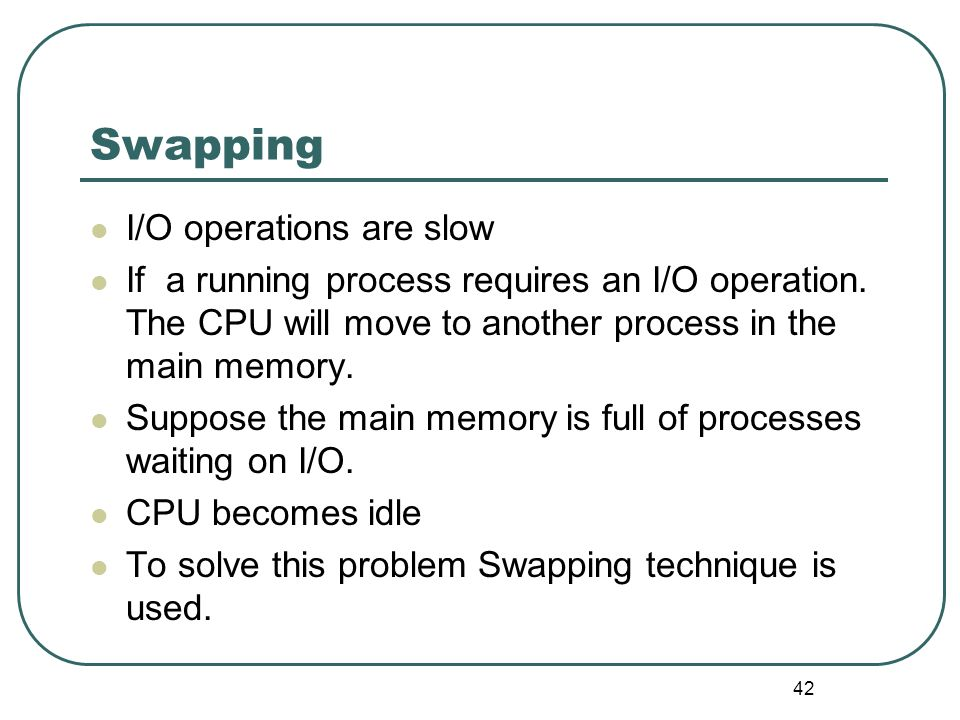 Swapping I/O operations are slow