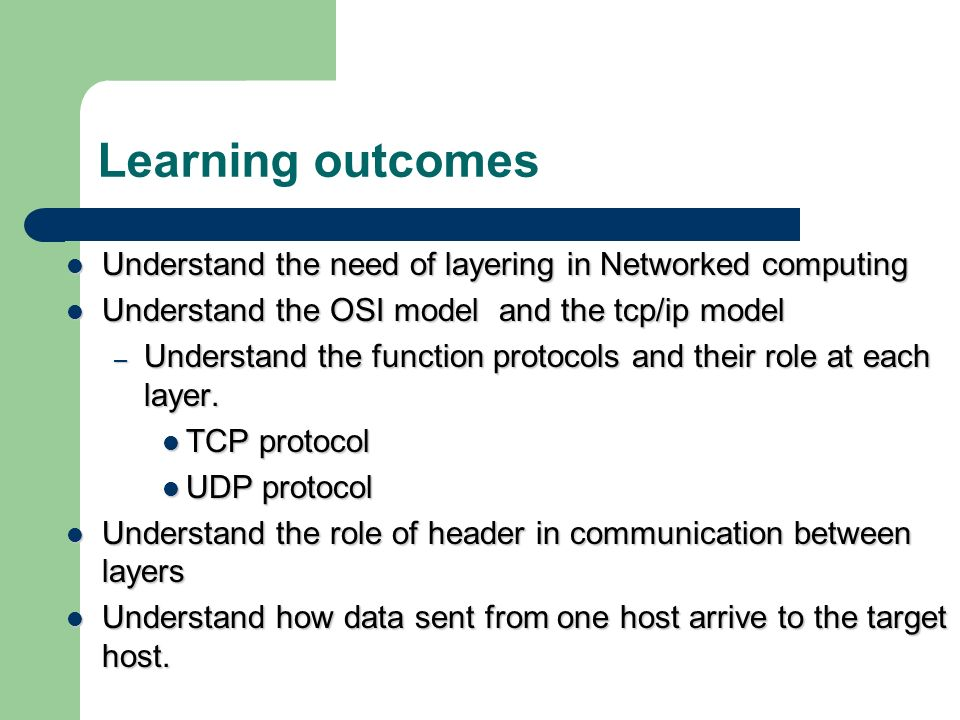Learning outcomes Understand the need of layering in Networked computing. Understand the OSI model and the tcp/ip model.
