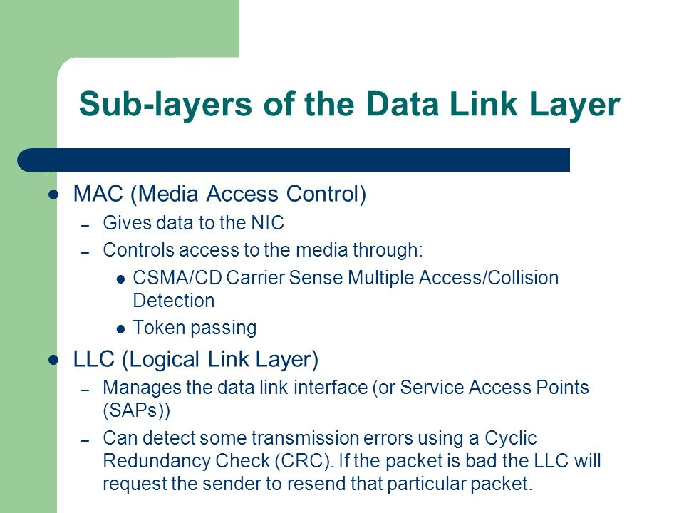 Sub-layers of the Data Link Layer