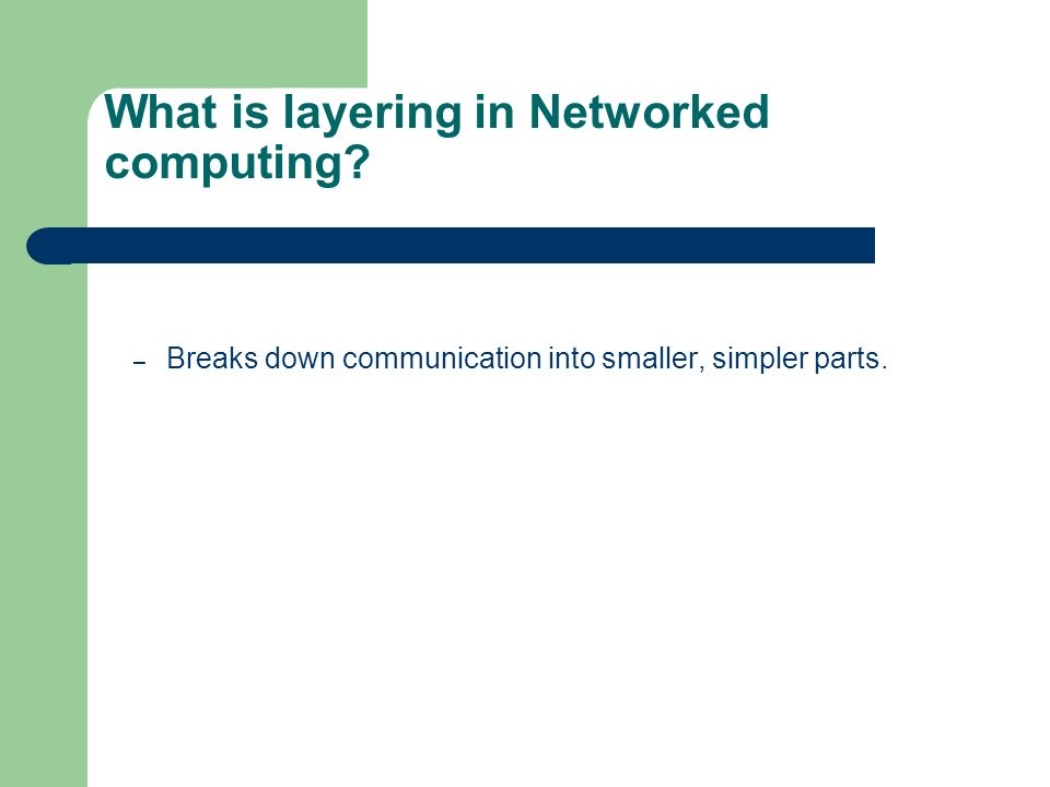 What is layering in Networked computing