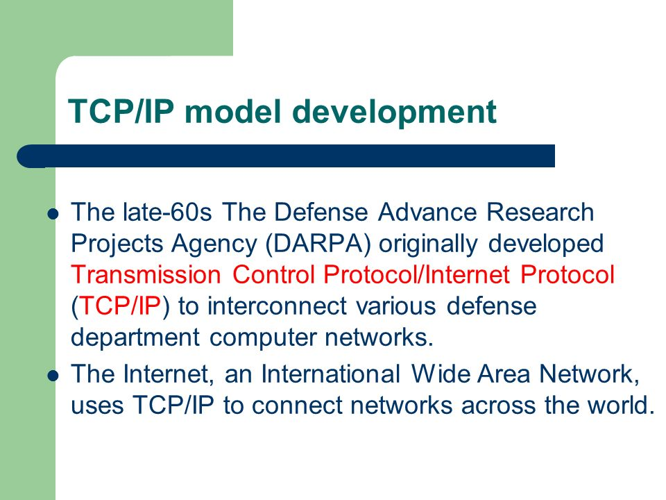 TCP/IP model development