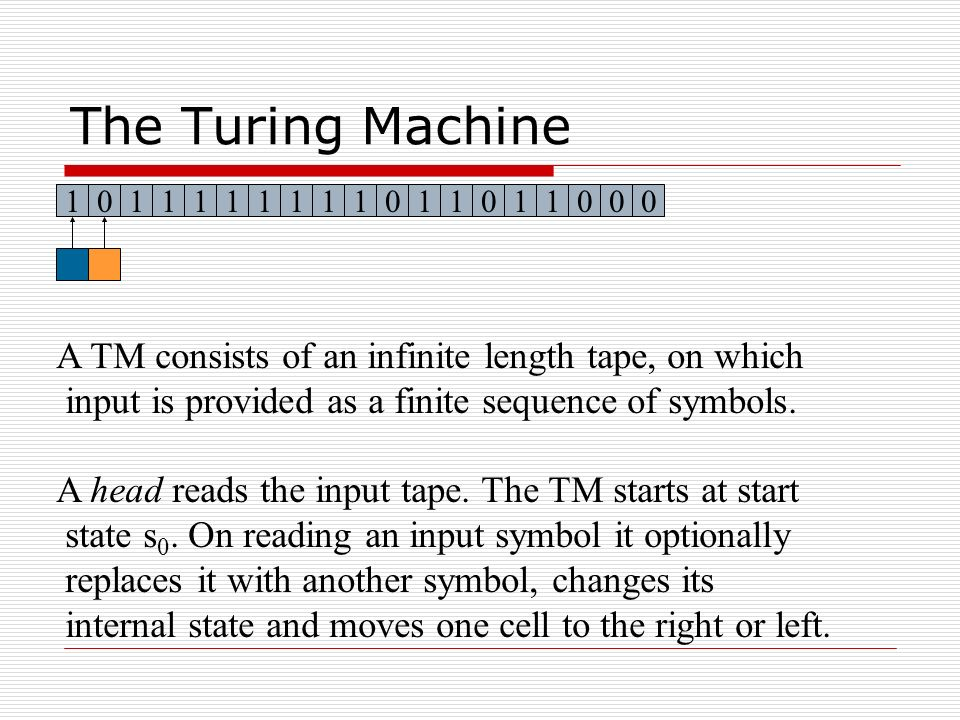The Turing Machine A TM consists of an infinite length tape, on which