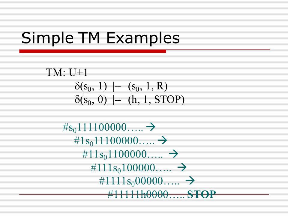 Simple TM Examples TM: U+1 d(s0, 1) |-- (s0, 1, R)
