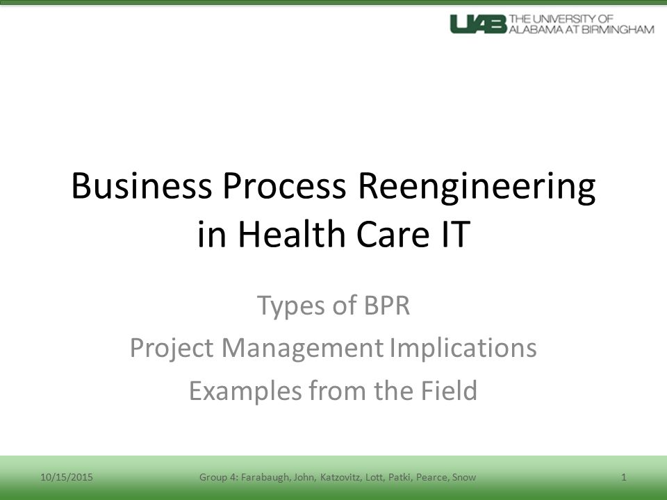 business process reengineering in healthcare management a case study Read business process re‐engineering in healthcare management: a case study, business process management journal on deepdyve, the largest online rental service for scholarly research with thousands of academic publications available at your fingertips.