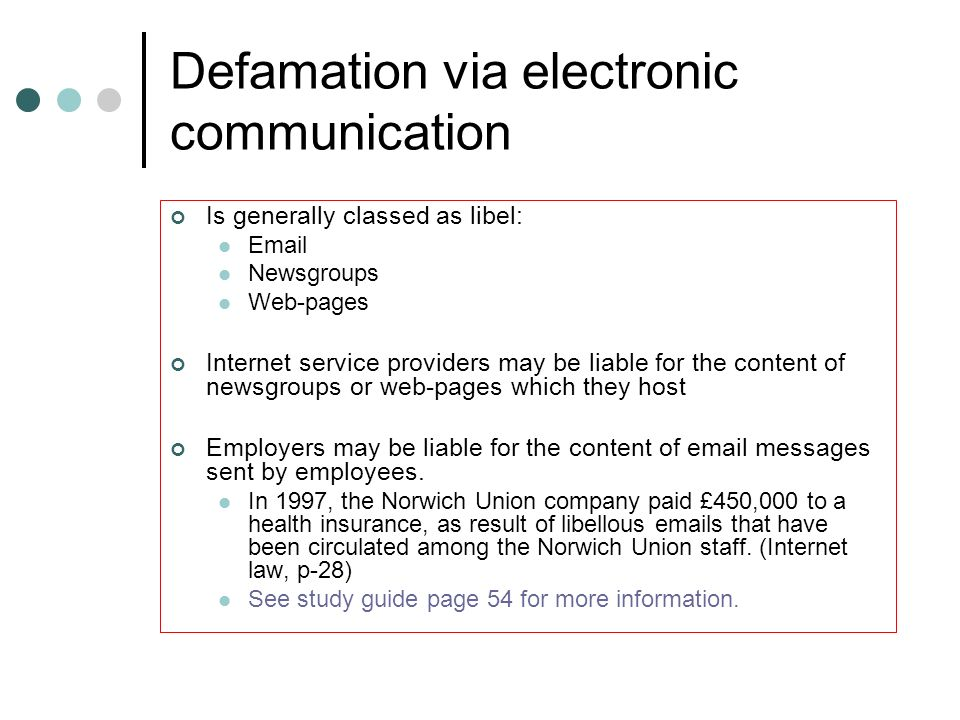 Defamation via electronic communication