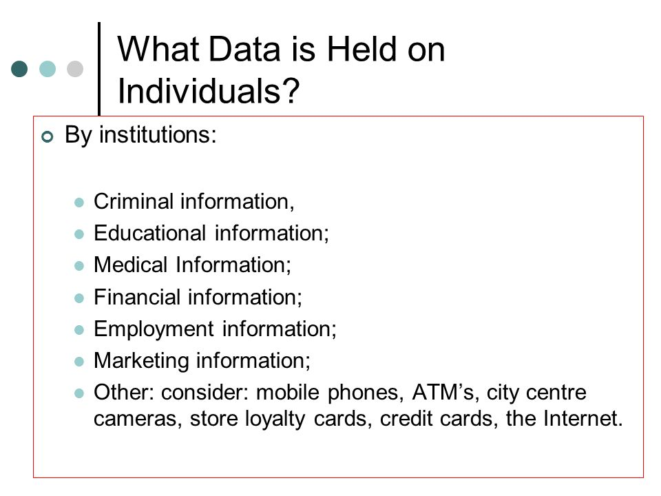 What Data is Held on Individuals