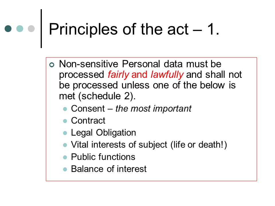 Principles of the act – 1.